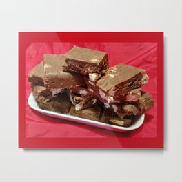 Cherry Chocolate Marshmallow Fudge On A Plate Metal Print