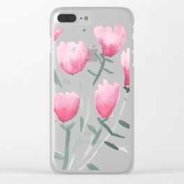 Watercolor pink flowers Clear iPhone Case