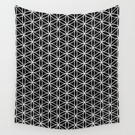 Flower of life pattern on black Wall Tapestry