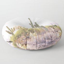 Cactus In The Desert Floor Pillow