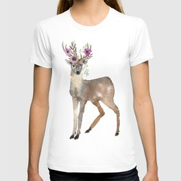 Boho Chic Deer With Flower Crown T-shirt