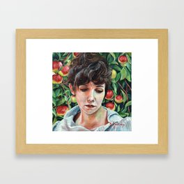 Discretion, oil painting portrait of Eve in Garden of Eden with Apples Framed Art Print