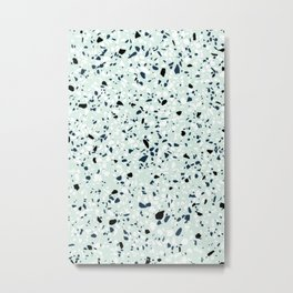 'Speckle Party' Navy Mint Black White Dots Speckle Terrazzo Pattern Metal Print