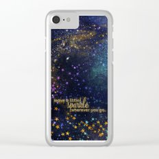 Leave a little sparkle wherever you go - gold glitter Typography on dark space backround Clear iPhone Case