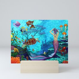 A Fish of a Different Color - Mermaid and seaturtle Mini Art Print
