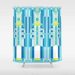FL Wright Design Shower Curtain