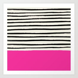 Bright Rose Pink x Stripes Art Print