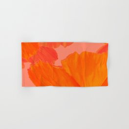 Beautiful Poppies Coral Color Background #decor #society6 #buyart Hand & Bath Towel