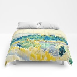 Mediterranean Landscape With a White House Watercolor Landscape Painting Comforters