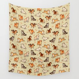 Shibas in cream Wall Tapestry