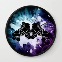 roller derby Wall Clocks featuring Roller Derby Galaxy Skates by Mean Streak