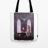 the office Tote Bags featuring Hades' Office by elvishness