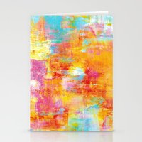clueless Stationery Cards featuring OFF THE GRID Colorful Pastel Neon Abstract Watercolor Acrylic Textural Art Painting Nature Rainbow  by EbiEmporium