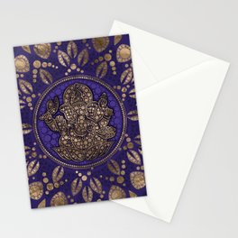 Lord Ganesha Dot Art Purples and Gold Stationery Cards