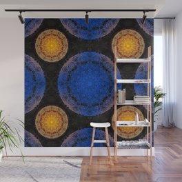 Mandala blue and orange Wall Mural