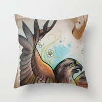 hawk Throw Pillows featuring Hawk by ChaniMurat