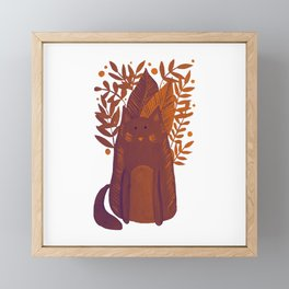 Cat and foliage - autumn palette Framed Mini Art Print