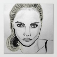 cara delevingne Canvas Prints featuring Cara Delevingne by CBDB