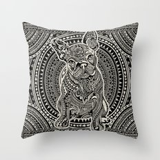 Polynesian  Frenchie Throw Pillow