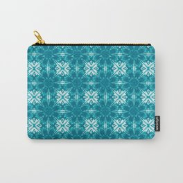 Turquoise Floral Geometric Carry-All Pouch