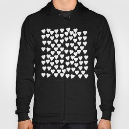Hearts White on Black Hoody