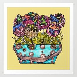 cake pop frog box (color) Art Print