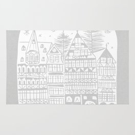 Linocut White Holidays Rug
