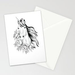 Unicorn,black and white floral illustration Stationery Cards