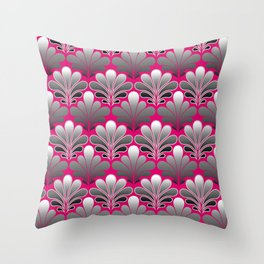 Art Deco Shell Pattern, Silver Gray and Fuchsia Pink Throw Pillow