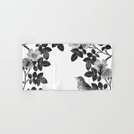 Birds and the Bees Black and White Hand & Bath Towel