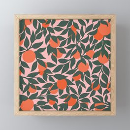 Oranges and Leaves Pattern - Pink Framed Mini Art Print