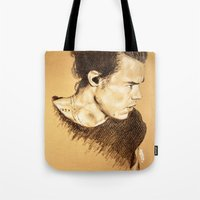 harry styles Tote Bags featuring Harry Styles by Drawpassionn