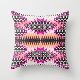 Tribal Beat Geo Magenta Throw Pillow