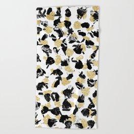 Black white marble faux gold glitter brushstrokes pattern Beach Towel