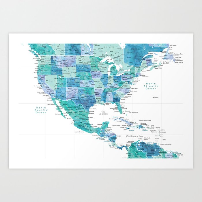 Map of the USA Mexico and the Caribbean Sea in watercolor Art Print Caribbean Sea Map on