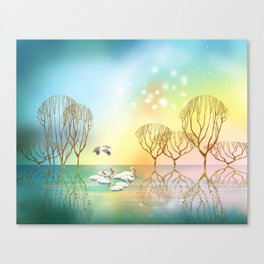 Pelicans on the Lake Canvas Print