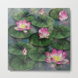 Water Lilly Flower Swamp Metal Print