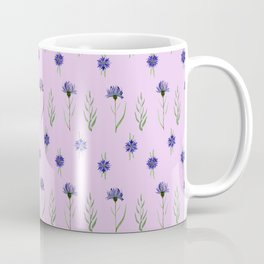 Floral pattern with blue cornflowers on a lilac Coffee Mug