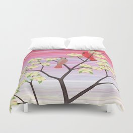cardinals and dogwood blossoms Duvet Cover