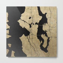 Seattle Black and Gold Street Map Metal Print