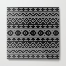 Aztec Essence Ptn III Black on Grey Metal Print
