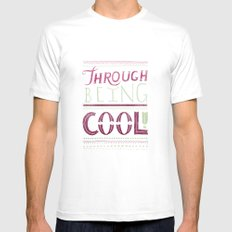 THROUGH BEING COOL v. 3 White MEDIUM Mens Fitted Tee