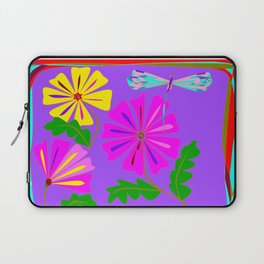 Lavender background of a Floral Design with Dragonfly Laptop Sleeve