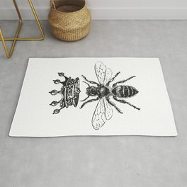 Queen Bee | Vintage Bee with Crown | Black and White | Rug