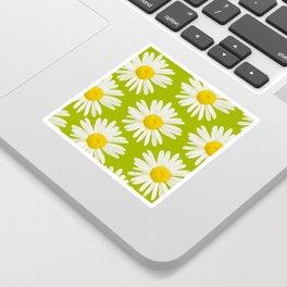 Daisies on a vivid green background #decor #society6 #buyart Sticker