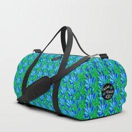 Cannabis Print Green and Blue Duffle Bag