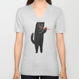 Black cat with flute Unisex V-Neck
