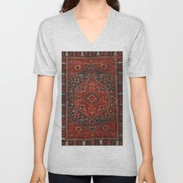 Persian Joshan Old Century Authentic Colorful Red Rusty Blue Vintage Rug Pattern Unisex V-Neck