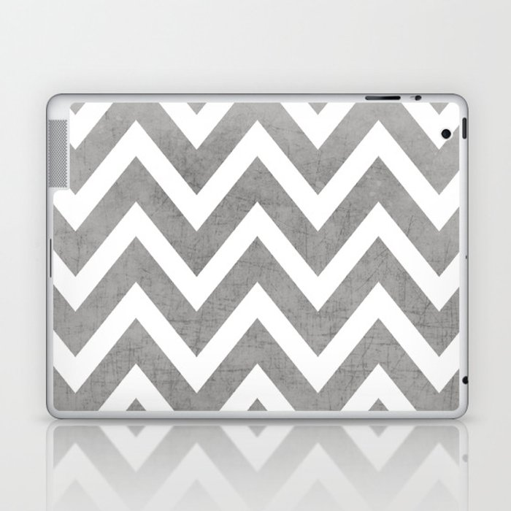 gray chevron Laptop & iPad Skin