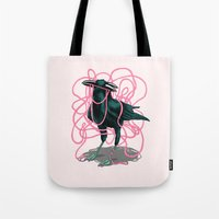 crow Tote Bags featuring Crow by Devin McGrath